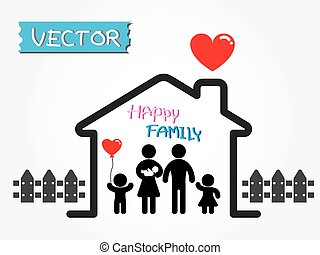 Happy Family (father,mother,infant,son,daughter in happy...
