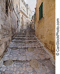 particular of old town of Matera in the morning - landscape...