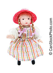 Doll with Red Hat on White Background