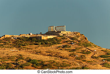 The ruins of temple in Cape Sounio, Attica, Greece - ruins...