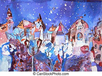 Winter city painting - Christmas time cute card