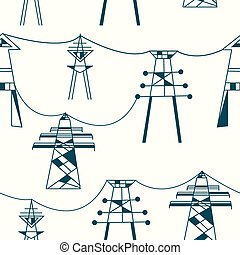 Seamless pattern for electricity - power lines illustration