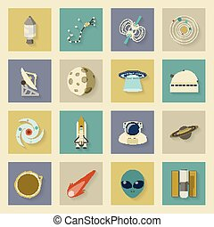 Astronautics and Space flat icons set with shadows