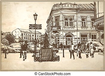 sketch vector illustration of Uzhgorod cityscape - original...