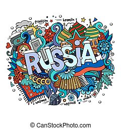 Winter Russia hand lettering and doodles elements background