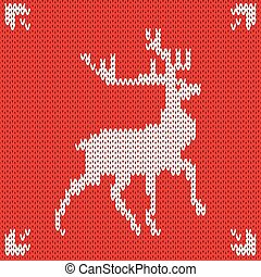 Christmas Knitted background with deer. Vector illustration.