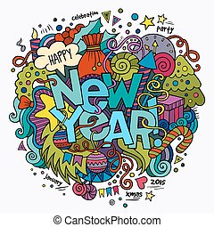New year hand lettering and doodles elements background...
