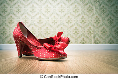 Vintage female shoes - Vintage red dotted female shoes with...
