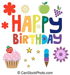 Happy Birthday text - Happy Birthday bright rainbow text....