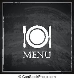vintage illustration with restaurant menu design on blackboard background.