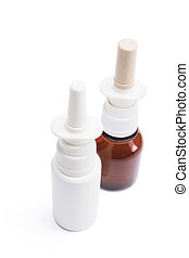 Bottles of Nasal Spray on Seamless White Background