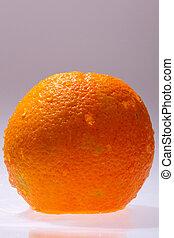 Orange fruits and Splashing water Isolated on white...