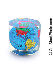 Globe Paperweight on Isolated White Background