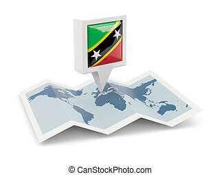 Square pin with flag of saint kitts and nevis on the map