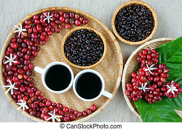 Collect of cafe, bean, cup of coffee, leaf, flower - Collect...