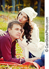 夫婦, 年輕, 放松, 自然