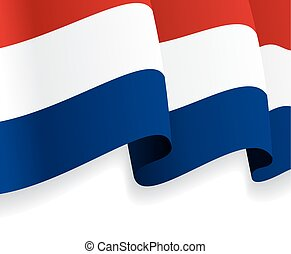 Background with waving Dutch Flag. Vector