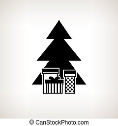 Silhouette christmas tree with gifts, vector illustration