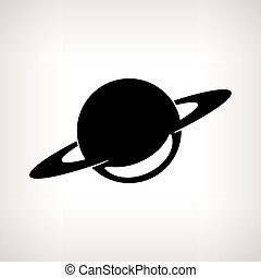 Silhouette planet Saturn on a light background, vector illustration