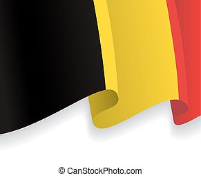 Background with waving Belgian Flag. Vector illustration