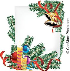 Bright Christmas poster - paper, burning candles and spruce...