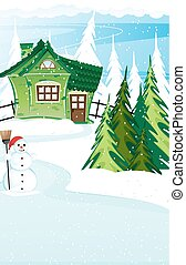 Brick  house and snowman with santa hat