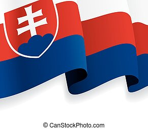 Background with waving Slovak Flag. Vector illustration