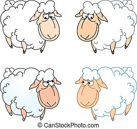 funny sheep - The illustration shows a few funny cartoon...