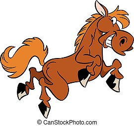 cartoon horse - The illustration shows a few funny cartoon...