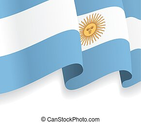 Background with waving Argentine Flag. Vector illustration