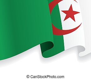 Background with waving Algerian Flag. Vector illustration