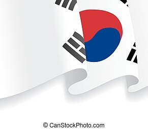Background with waving South Korea Flag. Vector