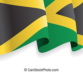 Background with waving Jamaican Flag Vector illustration