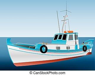 Greek Fishing Boat - A Traditional Greek Fishing Boat on a...