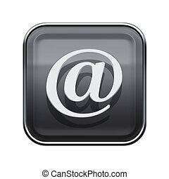 Email symbol icon glossy grey, isolated on white background