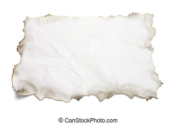 Paper with Burnt Edges on White Background