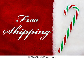 Free Shipping, A plush red stocking with a candy cane and...
