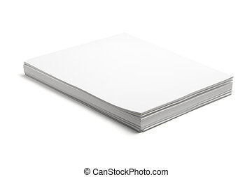 Stack of Papers on Isolated White Background