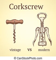 Vintage corkscrew versus modern, vector background