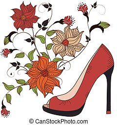 Women's shoes on a beautiful floral background