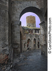 Tuscany: foreshortening of pienza - picturesque villages of...