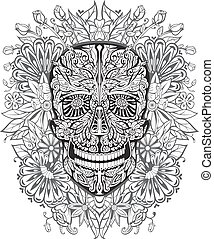 human skull made of flowers. vector illustration