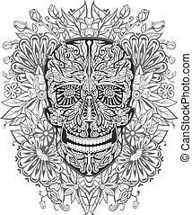human skull made of flowers. vector illustration