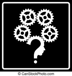 Question mark human head gear symbol, vector