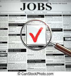 Job search concept Loupe, newspaper with employment...