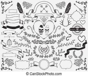 Hand-Drawn Doodle Design Elements - Hand-Drawn Doodle Floral...