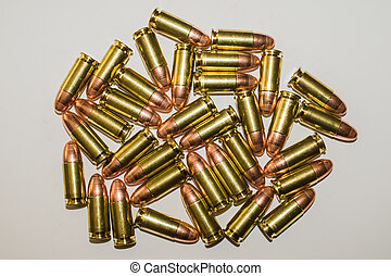 Bullets - Closeup of cartridges pistols ammo