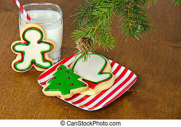holiday cookies and milk - Christmas cookies and milk under...