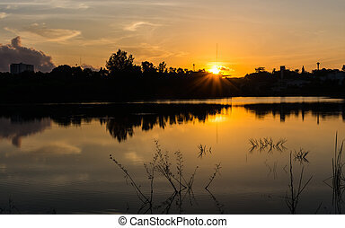 Nice sunrise scene on lake - Nice sunrise scene reflect on...