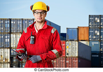 Logistics manager at a container transhipment plant, with an...